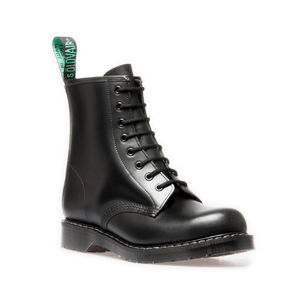 SOLOVAIR BLACK HI-SHINE 8 EYE DERBY BOOT